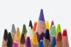 在一个空白背景的色的铅笔 库存照片