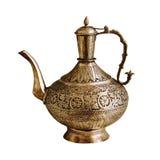 在一个空白背景的葡萄酒印第安茶壶 图库摄影