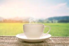 在一个简单的白色杯子的茶 免版税图库摄影