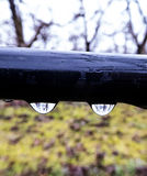 在一个管子的雨珠供水系统 免版税图库摄影