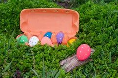 在一个箱子的复活节彩蛋在绿草 愉快的复活节 免版税库存图片