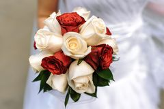 在一个箱子的结婚戒指在牡丹花束背景  库存图片