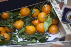 在一个箱子的蜜桔在市场上待售 库存图片