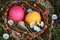 在一个篮子的复活节彩蛋与一个绿色青苔 免版税库存图片