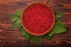 在一个篮子的成熟红浆果在木背景 水多的明亮的红色莓果,顶视图 在一张黑褐色桌上的新鲜的无核小葡萄干 免版税图库摄影