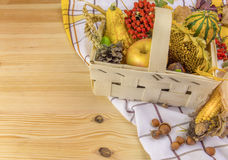 在一个篮子的秋天安排在木桌上 库存图片