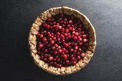 在一个篮子的红色蔓越桔在一块灰色石头 图库摄影