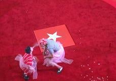 在一个红色圆环TX的马戏展示 免版税库存图片
