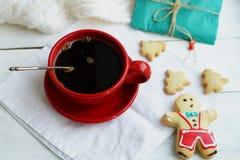 在一个红色杯子的咖啡 库存照片