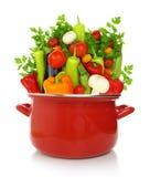 在一个红色烹调罐的五颜六色的菜 免版税图库摄影