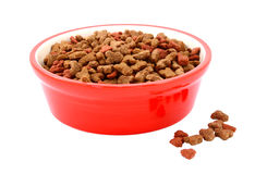 在一个红色碗的干猫食,饼干溢出了此外 图库摄影