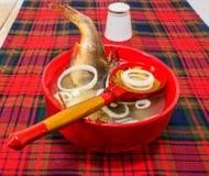 在一个红色碗的鱼汤 图库摄影