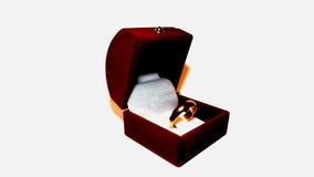 在一个红色箱子的金黄圆环 库存图片