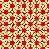 在一个红色背景无缝的传染媒介样式的黄色抽象花瓣 库存图片