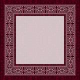 在一个红色背景的古色古香的框架边界 免版税库存照片