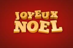 在一个红色背景的金黄Joyeux Noel文本 库存图片