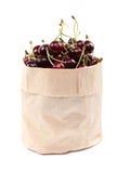 在一个纸袋的新鲜的樱桃果子 图库摄影