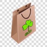 在一个纸袋的画的生态商标 库存例证