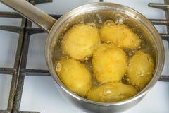 在一个罐的未经治疗的土豆煮沸在煤气炉 库存照片