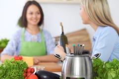 在一个罐的涮制菜肴在一起烹调的朋友背景,特写镜头 厨房内部和炊具 免版税图库摄影