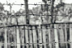 在一个网的铁丝网在木篱芭的背景上,黑白照片 免版税库存照片