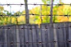 在一个网的铁丝网在木篱芭的背景上 库存图片