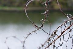 在一个网的铁丝网在河的背景,关闭上 免版税库存照片