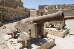 在一个罗马堡垒的老大炮 图库摄影