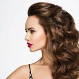 在一个美丽的女孩的档案的画象有长的头发的 免版税库存图片
