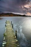在一个美丽的湖的看法在斯堪的那维亚在丹麦 免版税库存照片