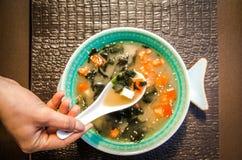 在一个美丽的碗的中国食物汤 免版税库存照片