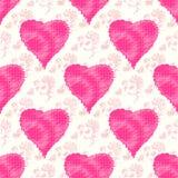 在一个美好的柔和的背景无缝的样式的桃红色心脏导航例证 库存图片