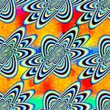 在一个美好的橙色背景无缝的样式的抽象几何对象 库存照片