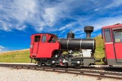 在一个美好的高山风景的蒸汽火车 库存照片