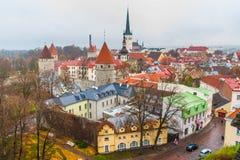 在一个老城市的塔的顶视图 免版税图库摄影