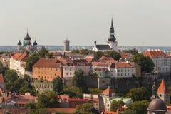 在一个老城市的视图从教会Oliviste 免版税图库摄影
