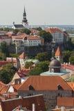 在一个老城市的视图从教会Oliviste 免版税库存照片