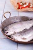 在一个老平底锅的二条新鲜的鳟鱼鱼 免版税库存照片