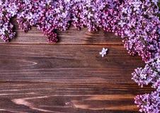 在一个老木板的淡紫色花 图库摄影