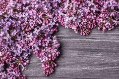 在一个老木板的淡紫色花 免版税图库摄影