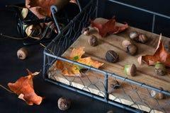 在一个老木盘子、橡子和叶子的秋天构成 土气样式 图库摄影