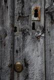 在一个老木门的许多锁 免版税库存照片