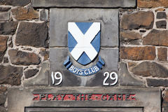 在一个老苏格兰大厦的标志 图库摄影