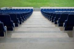 在一个背面图的蓝色体育场位子 库存图片