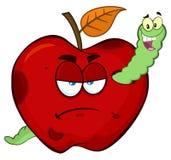 在一个脾气坏的腐烂的红色苹果计算机果子动画片吉祥人字符的愉快的蠕虫 向量例证