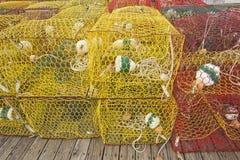 在一个船坞的捕蟹篓在北卡罗来纳 免版税图库摄影
