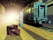 火车和袋子 皇族释放例证