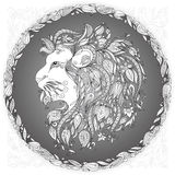 在一个花卉框架的狮子头 免版税库存图片