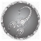 在一个花卉框架的蝎子 免版税库存图片