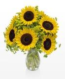 在一个花瓶的大向日葵在白色空间 免版税库存图片